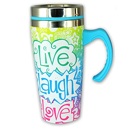 16 oz. Stainless Steel Thermal Printed Travel Coffee Mug with Lid and Handle - Live Laugh Love by Novelty, Inc.
