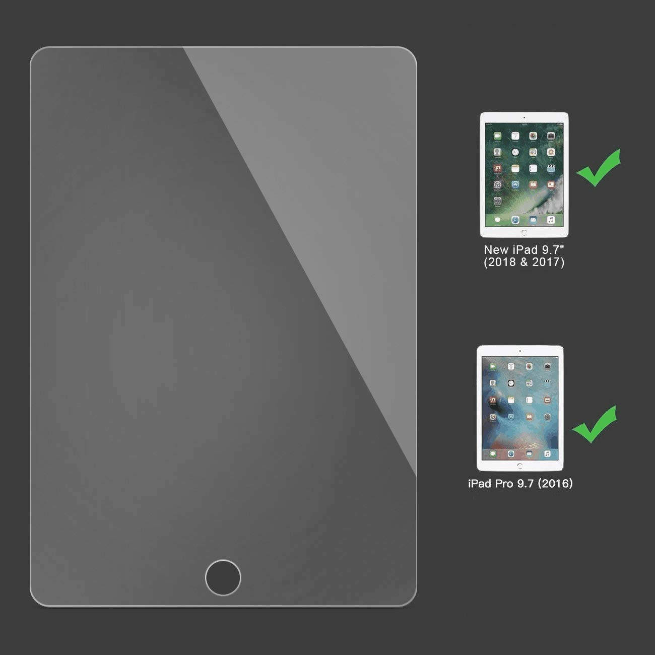 New iPad 9.7 2 Pack 2018 /& 2017 Apple Pencil Compatible//High Definition//Scratch Resistant SPARIN Tempered Glass Screen Protector // iPad Pro 9.7 Screen Protector