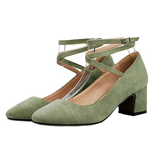 AIYOUMEI Damen Geschlossen Knöchelriemchen Pumps mit Schnürung und 5cm Absatz Chunky Heel Bequem Sommer Wildleder Schuhe Grün