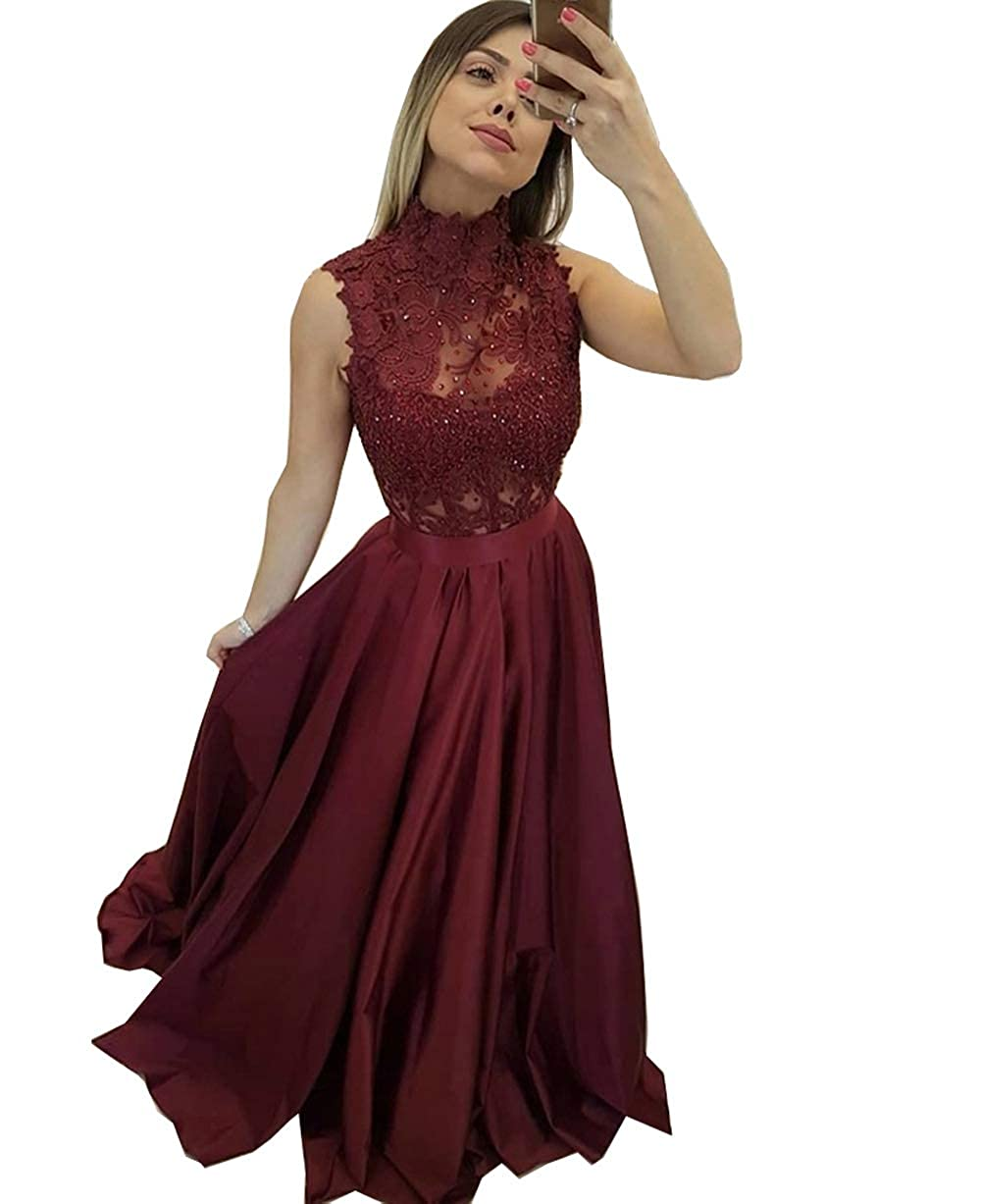 Burgundy MariRobe Women's Lace Appqiue Beaded Prom Gowns High Neck Evening Dresses Formal Gowns