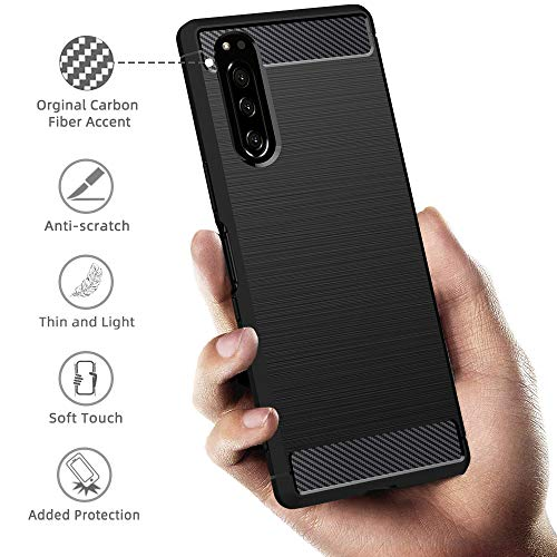 Peakally Sony Xperia 5 Case, Black TPU Cover Phone Case [Carbon Fiber Texture] Phone Protectors for Sony Xperia 5-Black