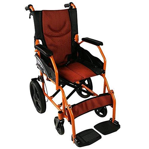 Mobiclinic, Modelo Piramide, Silla de ruedas ortopedica, asiento de 41 cm, para minuvalidos, plegable, de aluminio, freno en manetas, reposapies, reposabrazos, color naranja