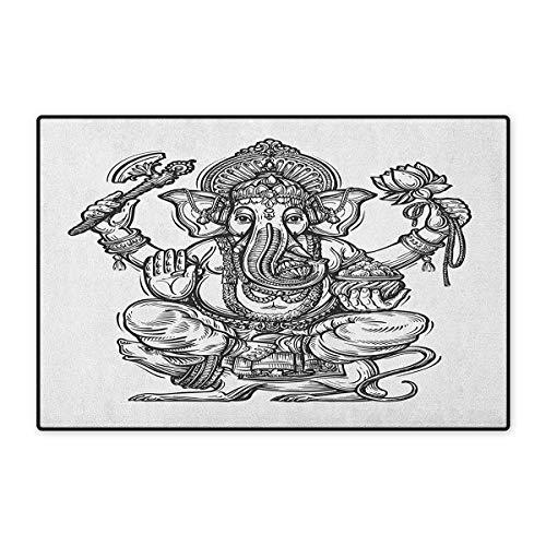 Mystic,Door Mats Area Rug,Majestic Religious Character in Folk Dressing Spiritual Symbol of Soul Pattern,Door Mat Doorroom Mat with Non Slip,Black and White,Size,24