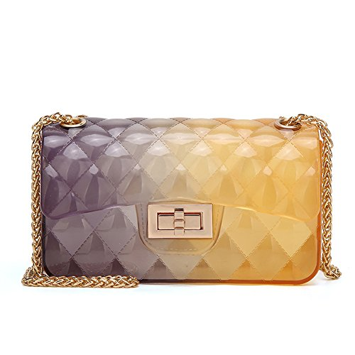 (Women Transparent Jelly Messenger Bag Lady Gradient Candy Color Shoulder Purses Mini Crossbody Bag with Chain (Grey Yellow))