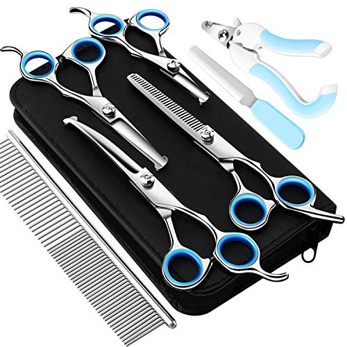 HONJEAN Dog Grooming Scissors Set, Safety Round Blunt Tip Grooming Tools, Professional Curved,Thinning,Straight Scissors with Comb,Nail cliper and Nail File,Grooming Shears for Dogs and Cats