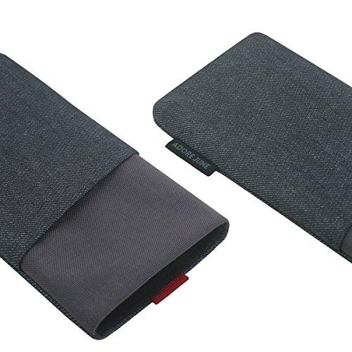 """Adore June iPhone 7 Plus / iPhone 6S Plus / iPhone 6 Plus Hülle """"Clive"""" aus Jeans und original Cordura mit extra Fach. Elegante Handytasche aus widerstandsfähigem Textil-Stoff mit Display-Reinigungsef"""