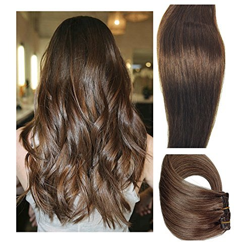 Myfashionhair Clip in Hair Extensions Real Human Hair Extensions 15 inches 70g Medium Brown Clip on for Fine Hair Full Head 7 pieces Silky Straight Weft Remy Hair (15 inches, #4) ()