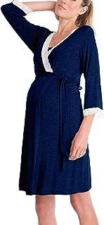 Vestido De Maternidad De Moda Acogedor Las Mujeres Modernas Casual Encaje De Encaje con Cuello En V Pijamas De Amamantamiento Enfermería 3 4 Mangas Camisón para Amamantamiento Camisón Noche Sche
