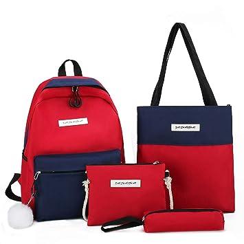 Amazon.com: 4 bolsas de mano de lona para mujer, bolso de ...