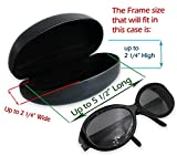 Hard Eyeglass & Sunglasses Case   Oversized To Protect Glasses w/Large & Extra Large Frames   Men & Women   Smooth Black Clamshell   AS413