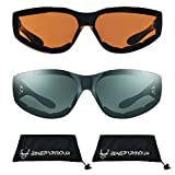 Motorcycle Sunglasses Foam Padded with Flame design for Men for women - Free Microfiber Cleaning Case Dragster (HD + Smoke Combo)