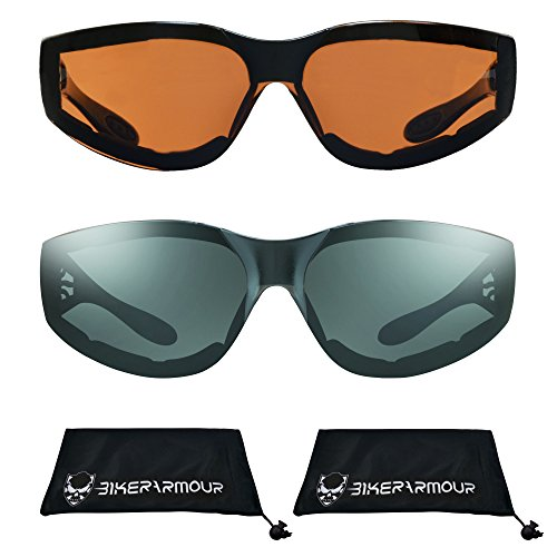 Motorcycle Sunglasses Foam Padded with Flame design for Men for women - Free Microfiber Cleaning Case Dragster (HD + Smoke Combo) by Bikershades