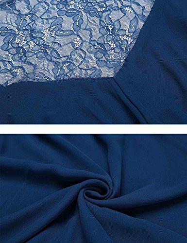 Renflements Robes En Mousseline De Soie D'été Pour Les Femmes De Couleur Unie Dentelle Mancherons V-cou Mini Robe Bleu