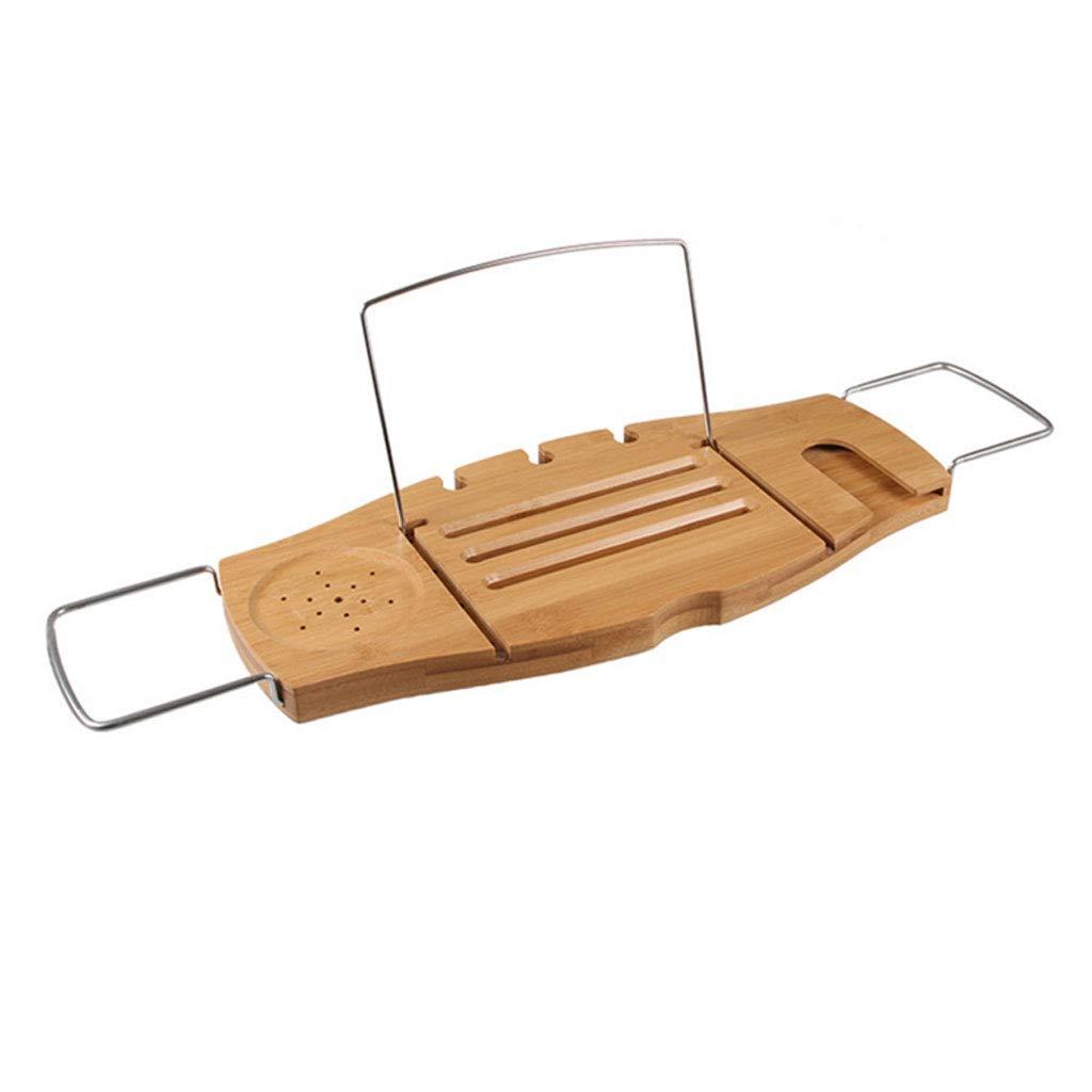YHNUJMIK Bathtub Shelf Bathtub Tray Tablet Stand Adjustable Folding Bracket Angle Adjustable Non-Slip Wine Rack,Woodcolor