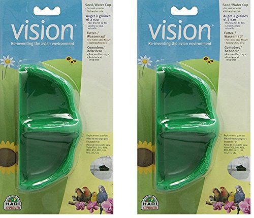 (2 Pack) Vision Plastic Seed and Water Small Birds Cup, Green