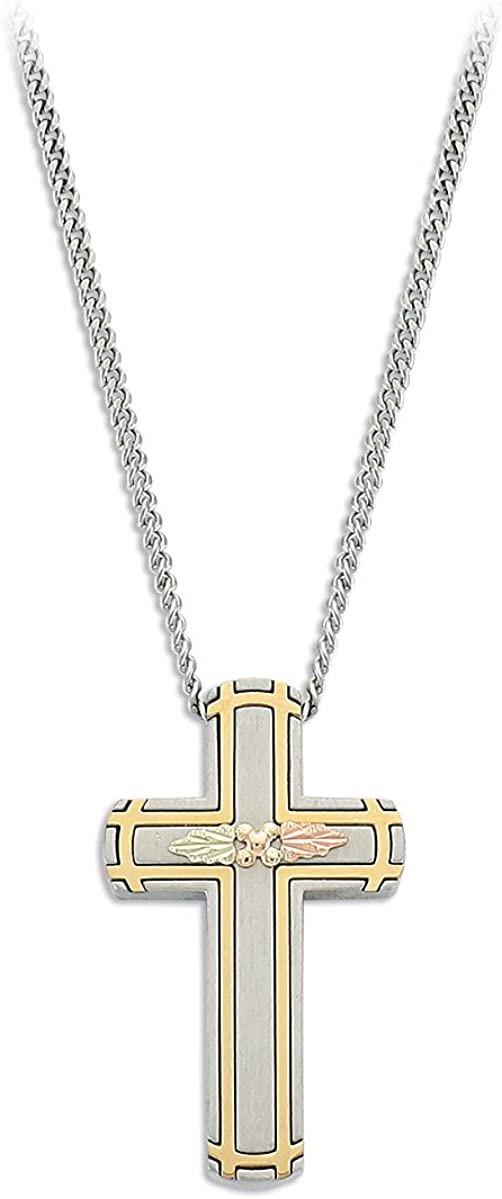 Solid 14k Yellow Gold Inlay Latin Cross Pendant Necklace