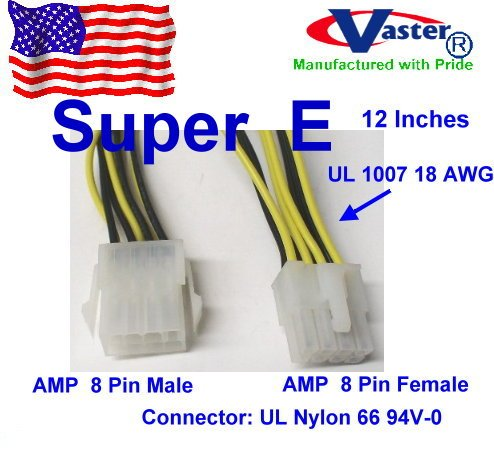 ATX Power Supply to Motherboard Power Extension Cable, (AMP 8 Pin Male to Female.) 12 Inches P4 System Board