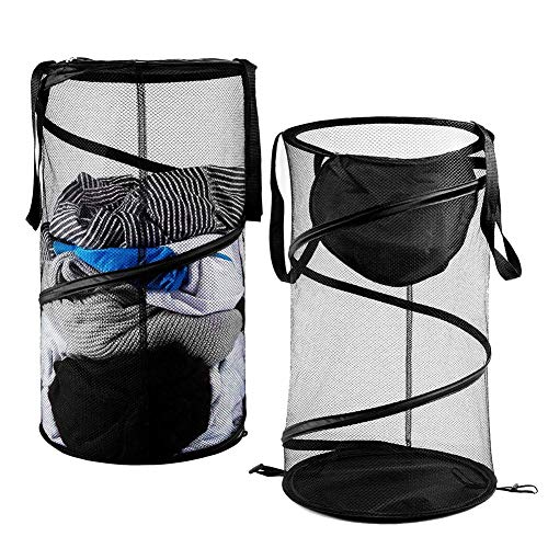 FORSHUYU 2 PCS Pop-Up Mesh Hamper,Foldable Collapsible Laundry Basket Collapsible Clothes Baskets with Handles for Dirty Clothes, Baby Kids Toys, Sporting - Zip Spiral