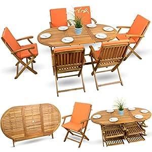 13piezas essgarnitur Madera Muebles de Jardín muebles de madera muebles de jardín Asiento Grupo Acacia barnizada # 6x silla plegable # 1x mesa plegable # 6x Cojines # Naranja