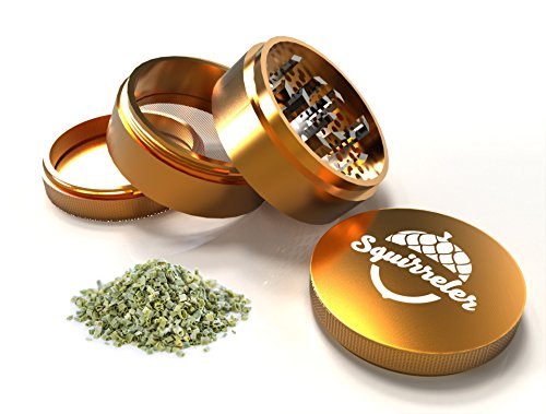 Aeronautical Grade Herb Grinder By Squirreler | Best Spice Grinder Makes Grinding Fast n Smooth | Lifetime Replacement | Gold Aluminum | Your Friends Will Immediately Want Your Heavenly Fluff