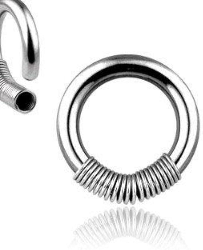 "Captive Nipple Ring Heavy 10 Gauge 1//2/"" Acrylic Striped 7mm Ball Body Jewelry"