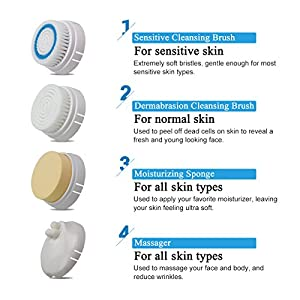 Waterproof Facial Cleansing Brush Face Scrubber Skin Microdermabrasion Exfoliator and Massager with 4 Brush Heads