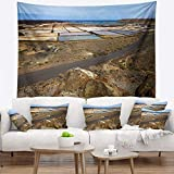 Designart TAP10727-80-68 'Salt in Lanzarote Spain Musk Pond' Seashore Tapestry Blanket Décor Wall Art for Home and Office, x Large: 80 in. x 68 in, Created on Lightweight Polyester Fabric