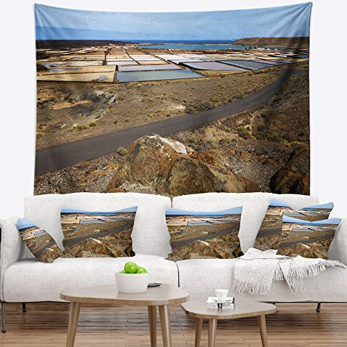 Designart TAP10727-39-32 'Salt in Lanzarote Spain Musk Pond' Seashore Tapestry Blanket Décor Wall Art for Home and Office, Medium: 39 in. x 32 in. by Designart