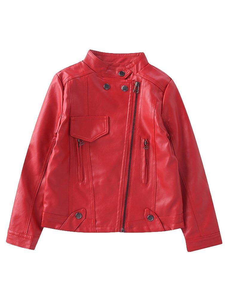 Mallimoda Girl's Faux Leather Moto Jackets Zipper Coat Outerwear CA-MaXT061