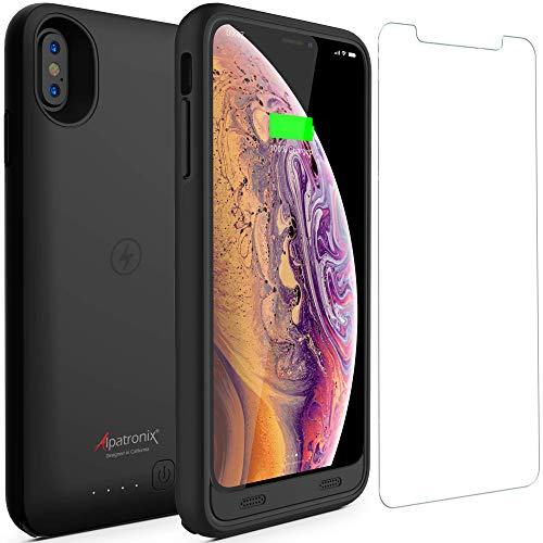 iPhone Xs Max Battery Case with Qi Wireless Charging Compatible, Alpatronix BX10 Max 6.5-inch 3500mAh Rechargeable Protective Portable Charger Cover for iPhone Xs Max Juice Bank Power Pack - Black