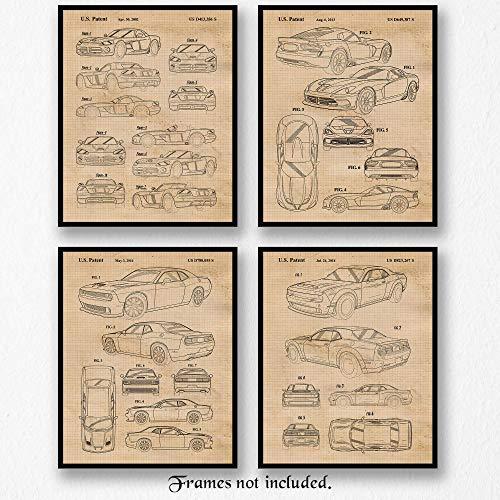 Original Dodge Demon, Viper, Challenger Hellcat SRT Collection Patent Art Poster Prints- Set of 4 (Four 8x10) Unframed- Great Wall Art Decor Gifts Under $20 for Home, Office, Garage, Man Cave, Shop