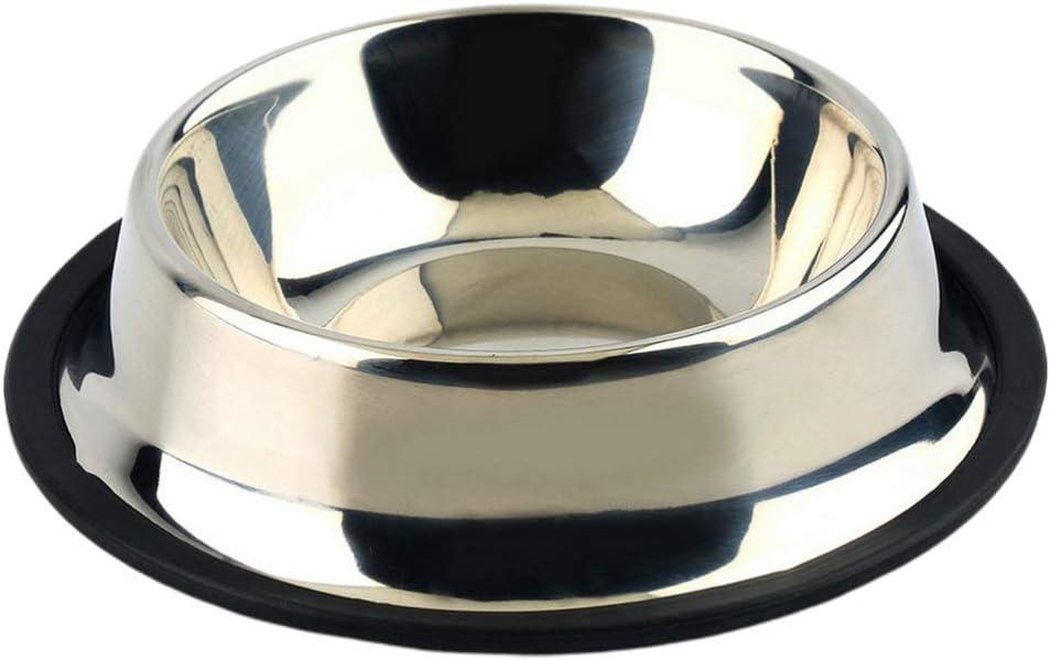 Balacoo Pet Bowl portátil Antislip Stainless Steel Pet Food Feeder Drinking Bowl Pet Supplies Food Bowl for Dog Kitten Puppy Cat for Pet (15 cm, Base Plateada) 3 Unidades