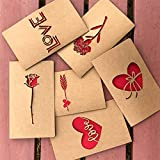 IQinQi Romantic True Love Cards, 6 Pack Hollowing Out Design Greeting Cards with Envelopes for Valentine's Day, Wedding, Anniversary