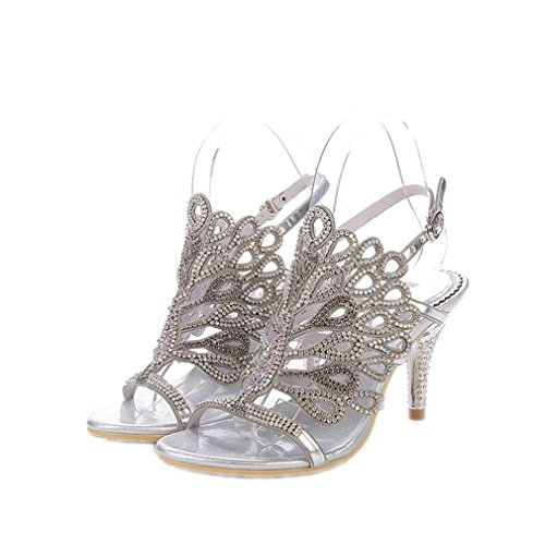 Genuine Leather Fashion And Sexy Rhinestone Wedding And Party Evening Dress Sandals Big Size 35-44, New Women Sandals Shoes Silver Thin Heels