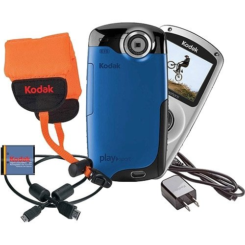 Kodak PlaySport (Zx3) HD Waterproof Pocket Video Camera Bundle (Blue) by Kodak