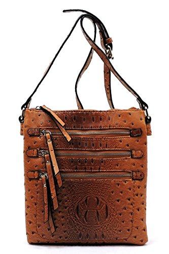 Ostrich Cross Body Bag - Elphis Ostrich Croc Multi Zipper Pocket Double Compartments Crossbody Bag Messenger Bag Satchel Day Purse (Cognac Brown)