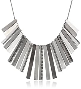 "Kenneth Cole New York ""Geometric Pave"" Silver Hematite Pave Stick Necklace, 20"""