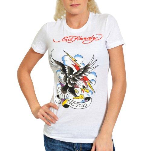 Ed Hardy Women Clothing - Ed Hardy Womens Tattoo Eagle Tee Shirt - White - Medium