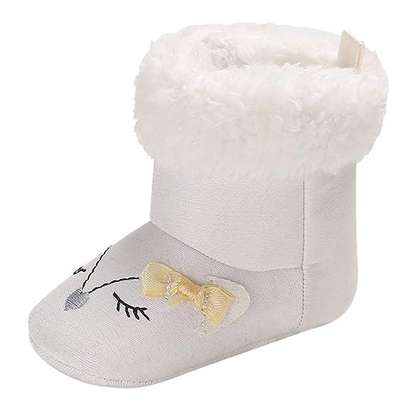 YanHoo Zapatos para niños Bebé recién Nacido Chicas Dibujos Animados Cuna Botas de Invierno Prewalker Zapatos