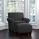 ProLounger Winnetka Velvet Chair and Ottoman, Gray