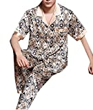 Fulok Mens Fashion Printed Ice Short Sleeve Lounge Pajama Set jewelry blue L