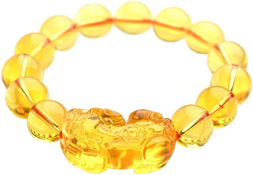 One Size Orange Agate Gemstone Bead Expandable Bracelet with Pi Xiu-Pi Yao Charm