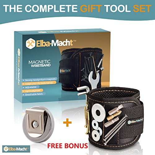 Magnetic Wristband - With Strong Magnets for Holding Screws, Nails, Drill Bits - Free Bonus : Magnetic Belt Clip - Best Tool Gift Set Idea - for Men, DIY Work, Handyman,Father/Dad, Husband -