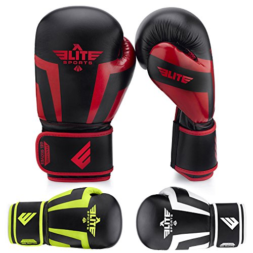 Elite Sports NEW ITEM Standard Adult Kickboxing, Muay Thai Gel Sparring Training Boxing Gloves (Red 10oz)