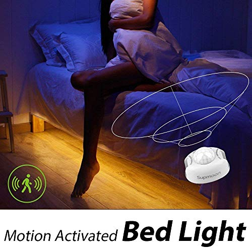 Motion Activated Bed Lights, Supmoon Adapter Powered, Stick Anywhere Automatic Shut Off Timer- for Baby's Room, Pantry and Stairs 3000K(Warm White, 4.9ft Adapter)