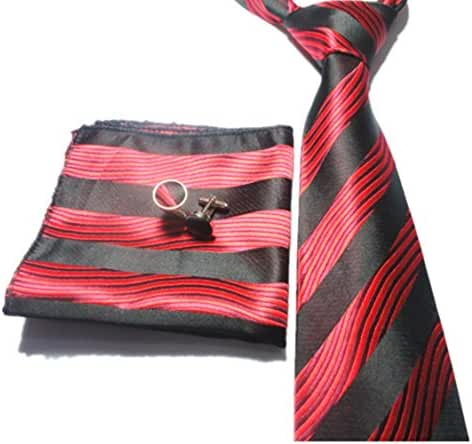 Allbebe Mens Classic Striped Red Black Jacquard Woven 3 Piece Tie Set Necktie