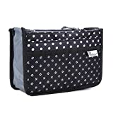 Periea Handbag Organizer - Chelsy - Premium Firm Range - 3 Colours Available - Small, Medium or Large (Small, Black with White Polka Dots)