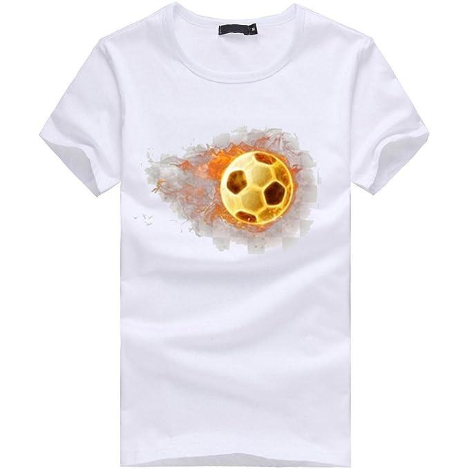 Manga corta hombre t-shirt, ❤ ⚽️Ba Zha Hei blanco Camisetas de Impresión de fútbol de Remera Talla Grande de Camisetas Suelto Cuello Redondo de Manga ...