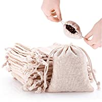 50pcs Small Cotton Double Drawstring Bags Reusable Muslin Cloth Gift Candy Favor Bag Jewelry Pouches for Wedding DIY Craft Soaps Herbs Tea Spice Bean Sachets Christmas, 4x4.5 inch