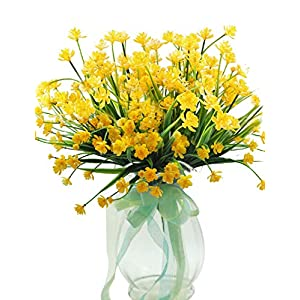 BTSD-home Artificial Fake Flowers, 6pcs Faux Yellow Daffodils Greenery Shrubs Plants Plastic Bushes Indoor Outside Hanging Planter Wedding Cemetery Decor 2
